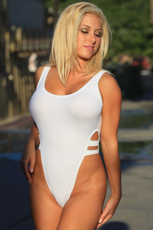 Sheer High Cut One Piece In White Swimwear