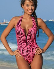 Neon Hot Zebra Zip One Piece