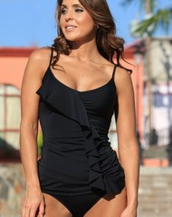Black Ruffled Tankini