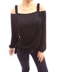 Stylish Off Shoulder Cross Tied Long Sleeve Top